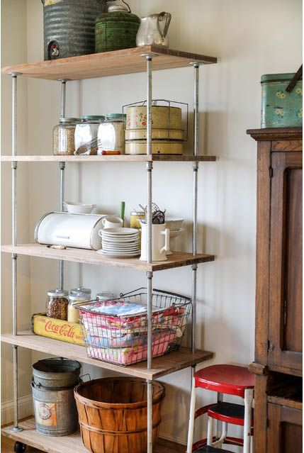 How To Make Industrial-Style Shelving Unit - LivingGreenAndFrugally.com