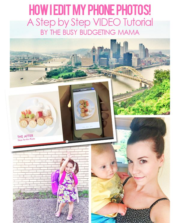 AMAZING TUTORIAL!! I may actually be able to get nice pics from my iPhone now! :)  VLOG- Step by Step Tutorial: How I Edit my Phone Photos - The Busy Budgeting Mama