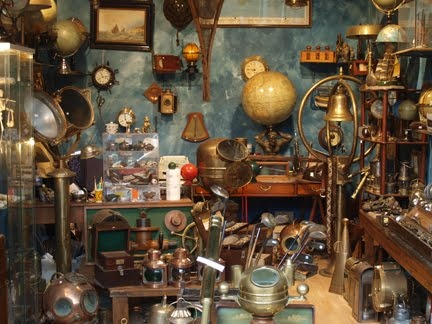 Indoor stall at the Clignancourt flea market, Paris, Summer 2010. Photograph by Colin Talcroft.