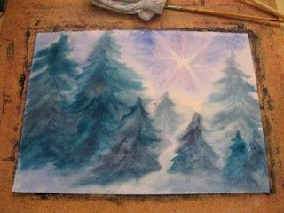 wet on wet how to paint this painting video; would be cute with some salt sprinkled on for snow to hang behind the nature table in winter.