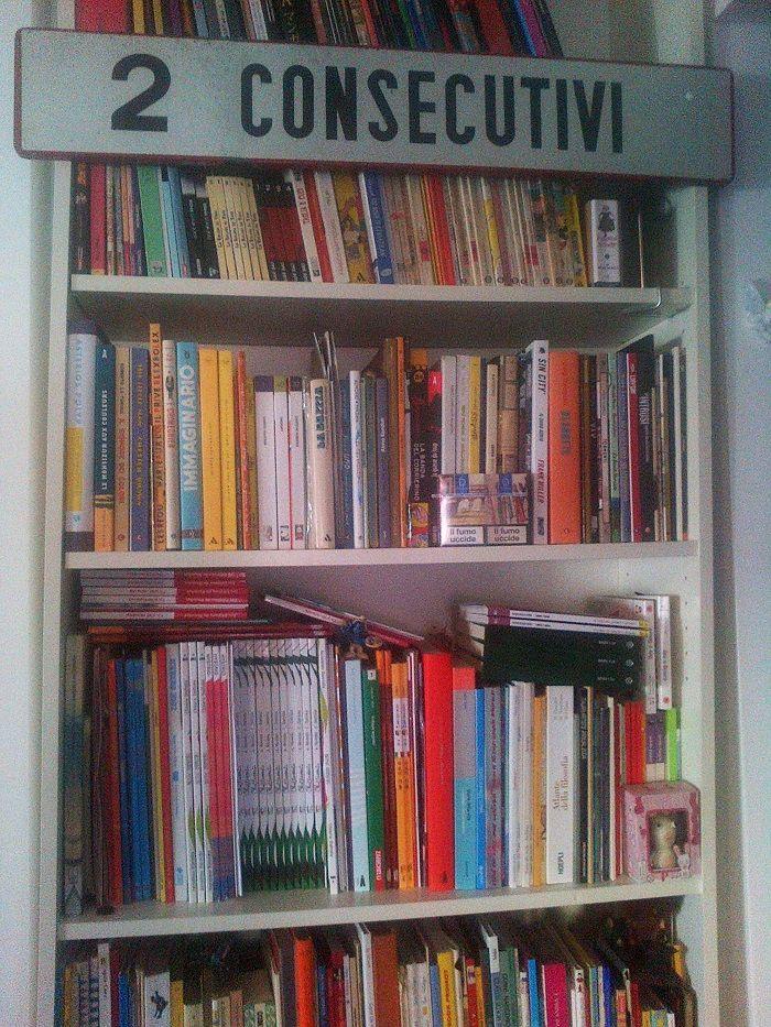 """Questa è la libreria di Chiara Dattola, illustratrice che collabora con il """"Corriere della Sera"""" e con il settimanale """"Internazionale"""". Il suo ultimo libro pubblicato in Italia si intitola Pisopisello (La coccinella)."""