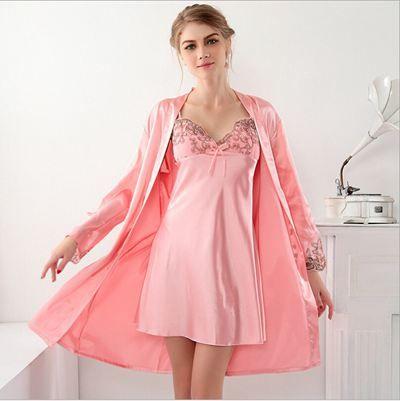 Satin Robe Peignoir Femmes Pyjamas De Nuit Bain De Robe De Soie Dentelle De Soie Peignoir Femmes Lingerie De Nuit Kimono Fl-5136622