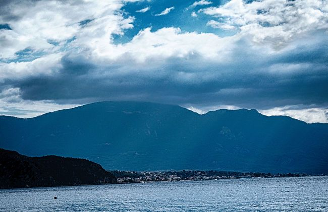 Beauty In Nature Calm Clouds Day Godrays. Greece Landscape Mountain Nature Sea…