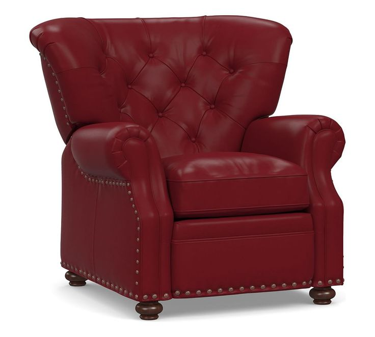 Lansing Leather Recliner, Polyester Wrapped Cushions