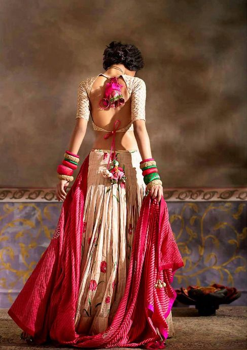 Boho Chic lengha (lovely pink and tan)