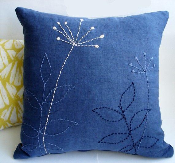 Sukan / 1 almohada de lino cubre azul marino - bordada a mano Cojines decorativos almohada - fundas - - almohadas de 16 x 16