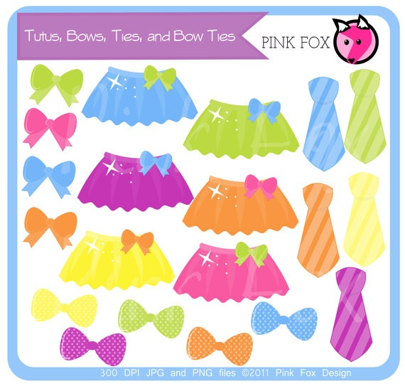 INSTANT DOWNLOAD - tutu clipart, tie clip art, bow graphic, bow tie image, for scrapooking, invitations, commercial use.