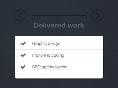 dark minimal website list interface