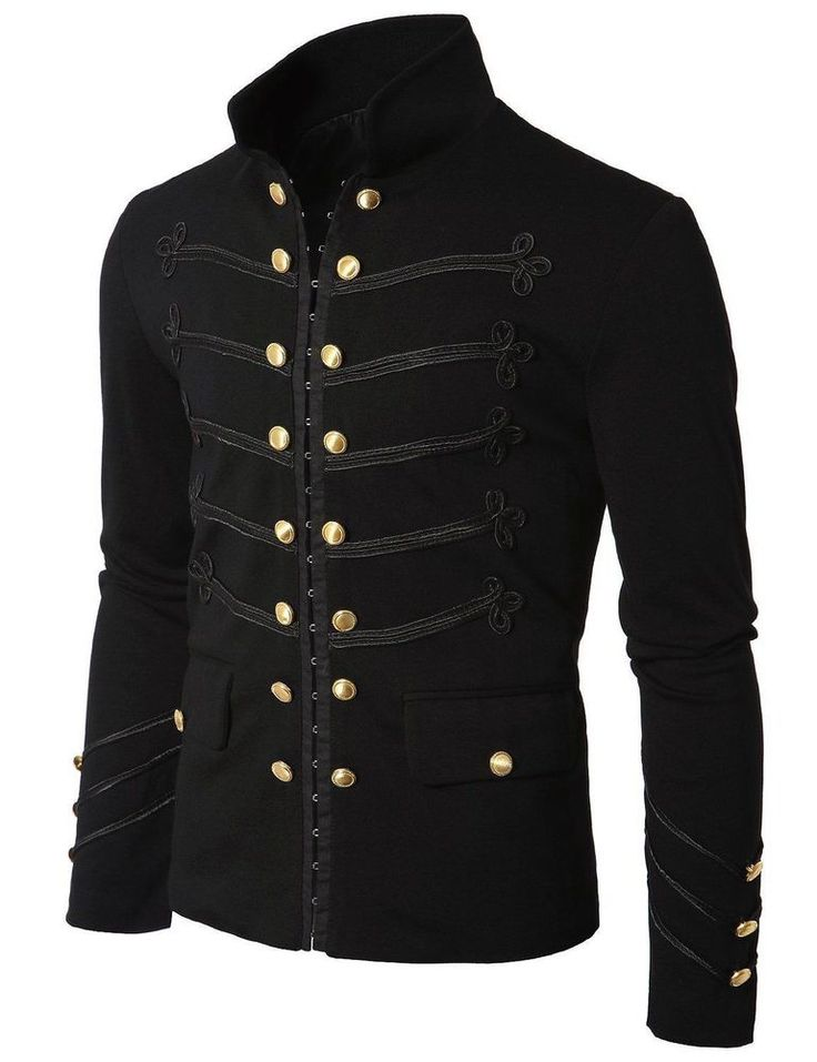 Men's Unique Modern Black Embroidery Black Military Napoleon Hook Jacket. High quality Military Napoleon Black Embroidery Jacket featuring standing Mandarin collar, flattering slim cut, great details! | eBay!