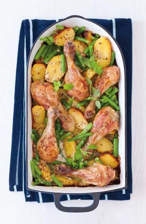 Hořčično-medové kuře s bramborami (www.albert.cz/recepty)
