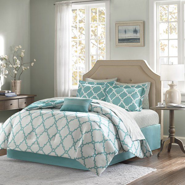 The Mercer41 Whitney complete bed and sheet set creates a simple yet chic look in your space. The fretwork design creates a galm look. This set is completely reversible allowing you to change the feel of your room instantly. A 180 thread count printed sheet set also features a smaller scale fretwork pattern for a finished look.