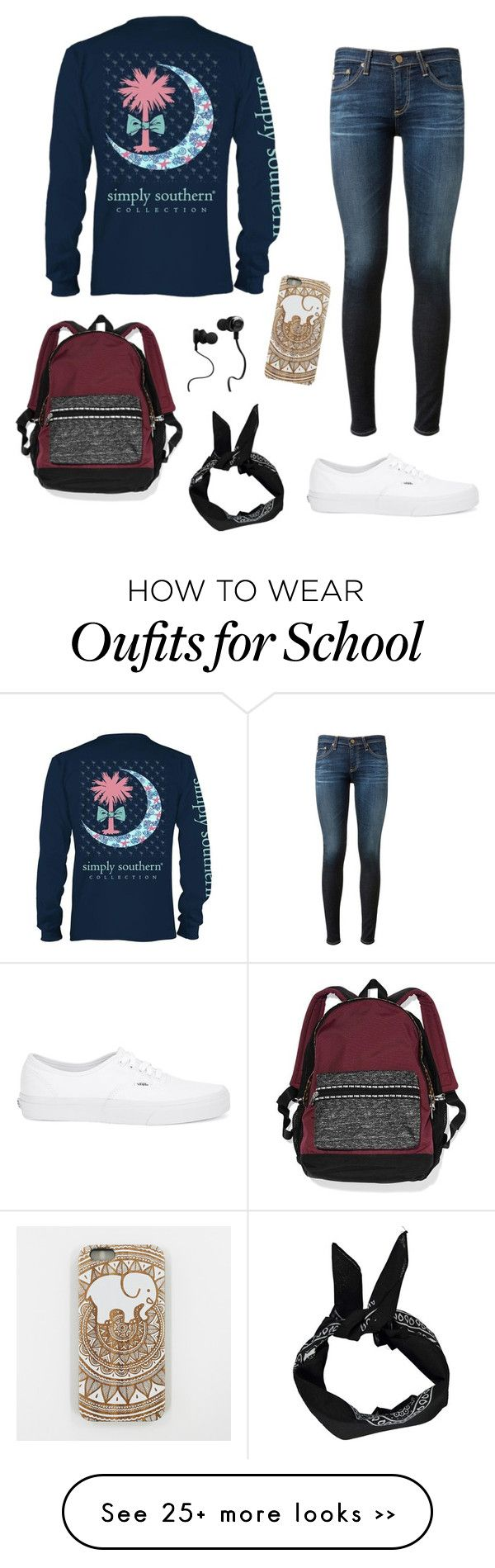 """School Sucks"" by whitneyhodges on Polyvore featuring AG Adriano Goldschmied, Vans, Victoria's Secret, Boohoo and Monster"