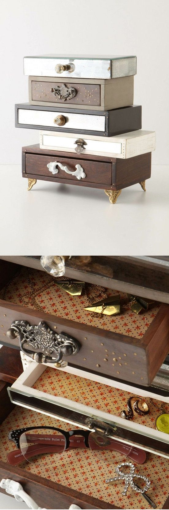 HACKED :: Topsy-Turvy Jewelry Box :: $298 | Anthropologie :: This could be done w/ cheap pine boxes from Michael's or even cigar boxes. Paint/stain them first, then line the drawers w/ pretty shelf paper, wallpaper, or decoupage scrapbook paper. Glue or screw in cute knobs to the outsides & glue all the boxes together (off center, of course) w/ wood glue. Finally, nail tiny gold nails into the drawers like shown in the photo. Done! & it's one of a kind! I'd say $50 or less. | #hack…