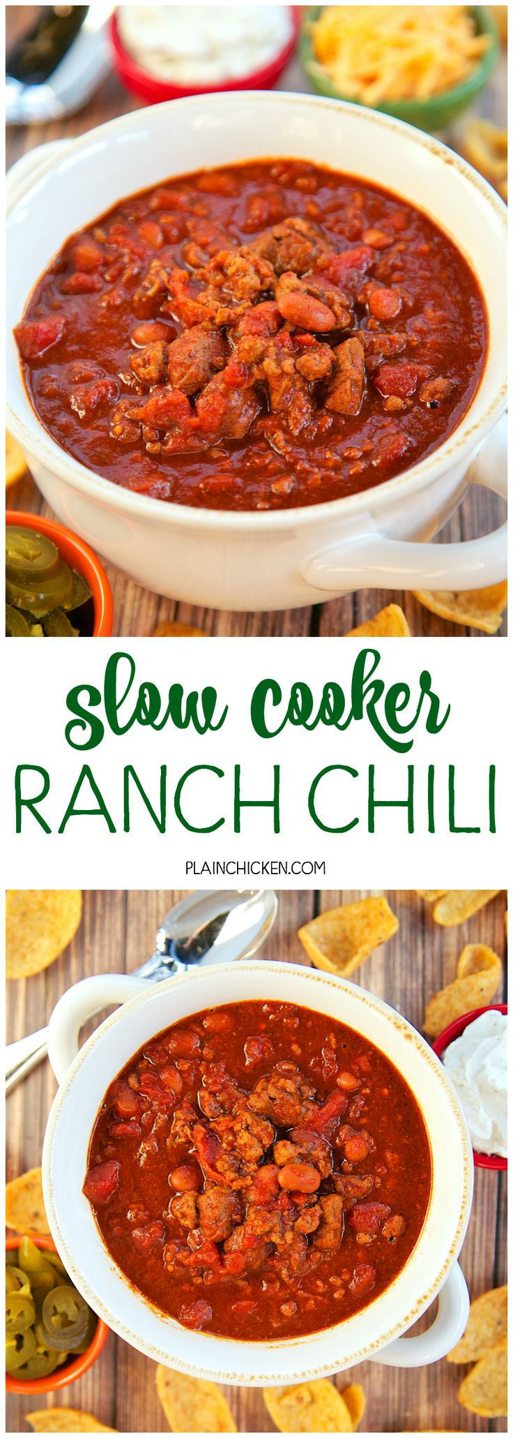 Slow Cooker Ranch Chili - THE ULTIMATE chili recipe!! Ground beef, stew meat, diced tomatoes, Rotel tomatoes, chili beans, beef broth, tomato paste, chili powder, cumin, garlic and Ranch dressing mix. This has all the best parts from all of my chili recipes. It is the seriously BEST chili recipe! Great for a crowd! Serve with some cornbread for a quick and easy meal!