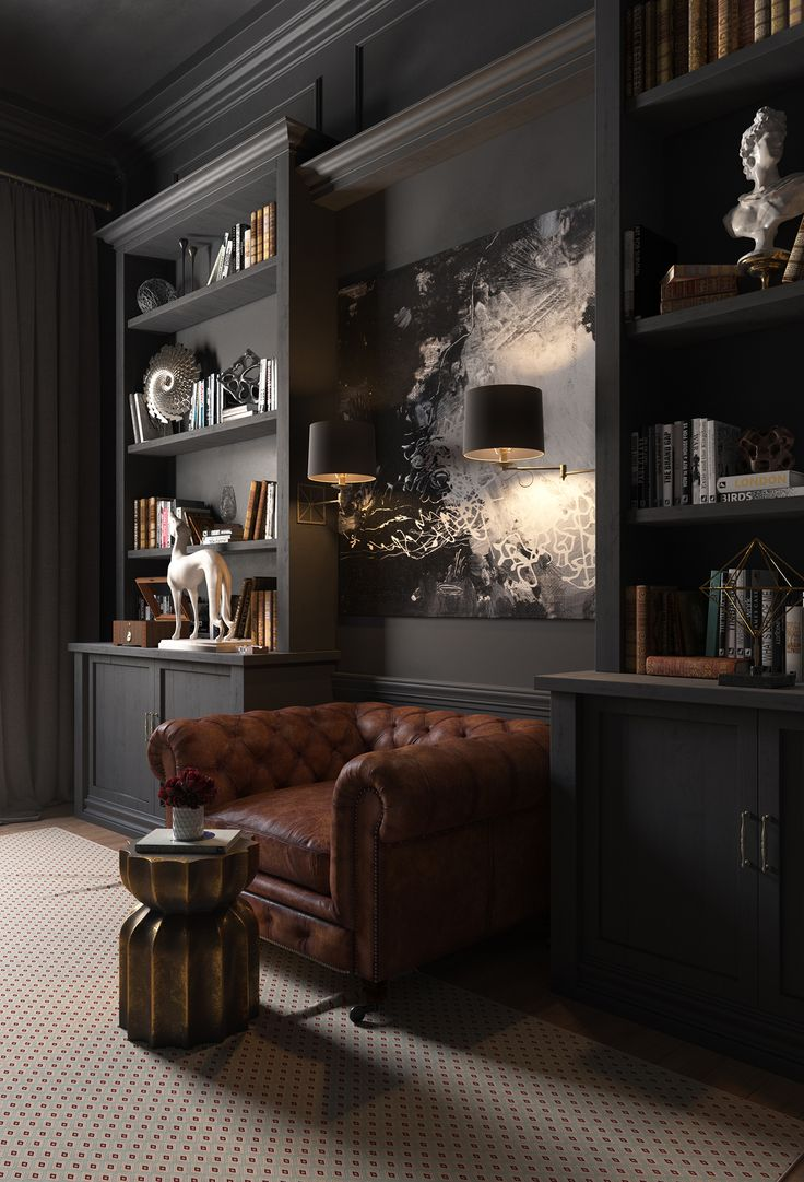 CABINET on Behance Gorgeous room- id change the chair to a bigger black one though