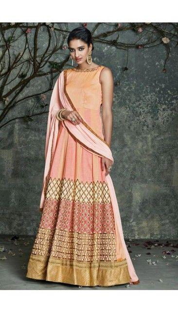 Gorgeous Peach Silk Embroidered Anarkali Gown - DMV14494