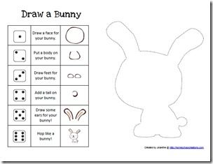 Since Easter is coming soon, I had to share this with you all now!! We have had a lot of fun playing it together and I'm sure you all will love it too!     To play Build a Bunny cut out the pieces of the bunny and then use a die to roll numbers. Ha