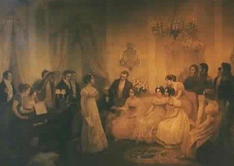 El Himno Nacional en la sala de Mariquita Sánchez de Thompson, donde se cantó por primera vez en 1813.
