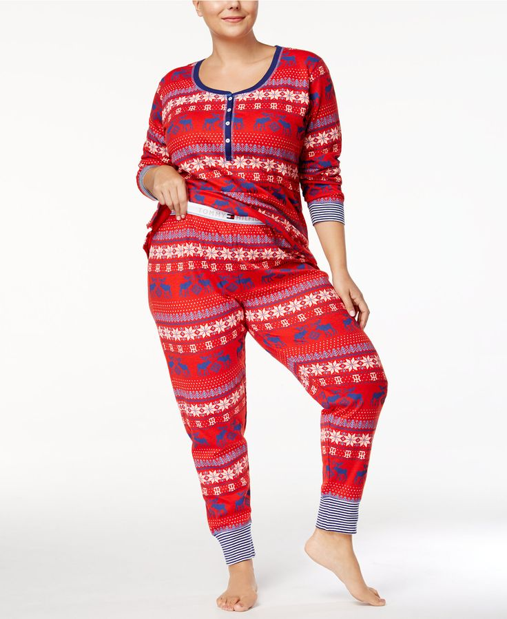Vintage style, nordic pattern thermal pajamas by Tommy Hilfiger #pajamas #thermal #warm #cozy #plussize #plussizefashion #nordic #promoted
