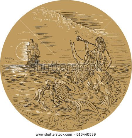 Drawing sketch style illustration of two sirens on an island waving calling a tall ship set inside circle with full moon in the background.   #mermaid #drawing #illustration