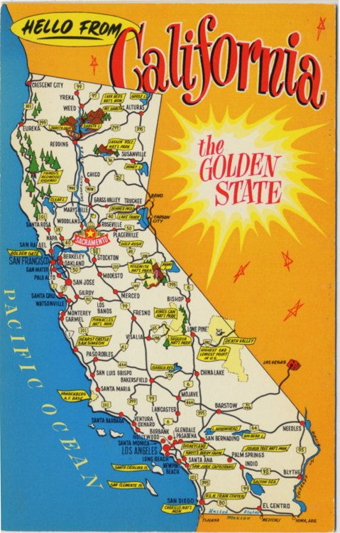 Best States Postcards Images On Pinterest State Map United - State of ca map