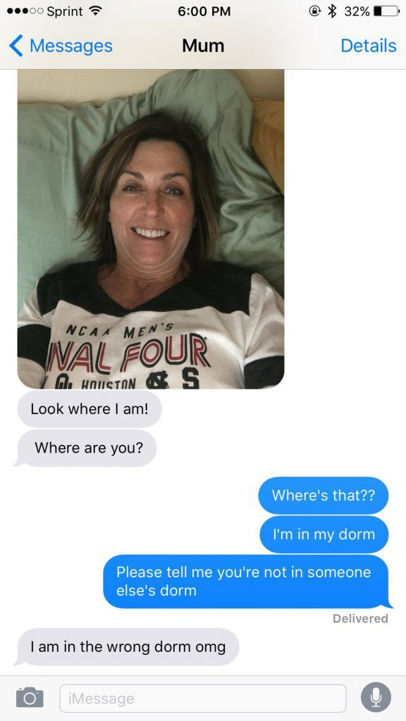 Whoops! Mum surprises daughter at school by taking a selfie in the wrong dorm bed(1)