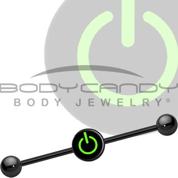 Green Power Button Industrial Barbell   Body Candy Body Jewelry