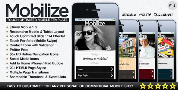 Mobilize - Touch Optimized Mobile Template - Mobile Site Templates