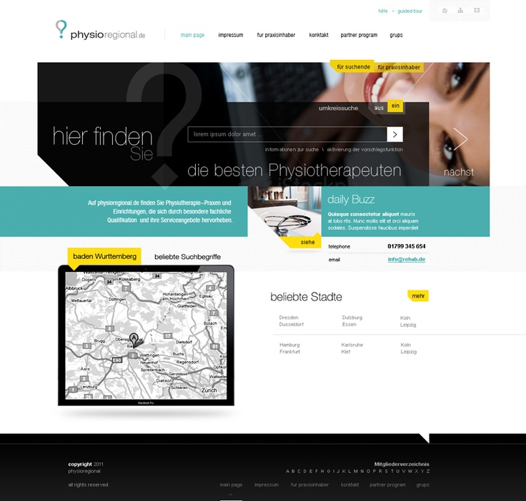projekt strony internetowej dla gabinetów medycznych w oparciu o nowoczesny układ graficzny.