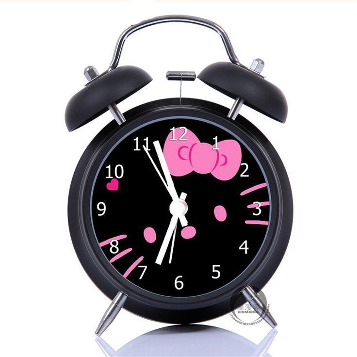 Новый Колокол Будильник Hello Kitty Творческий Классический Черный Стол Настольные Часы Металла Будильник для Взрослых Дети Игрушка в Подарок купить на AliExpress