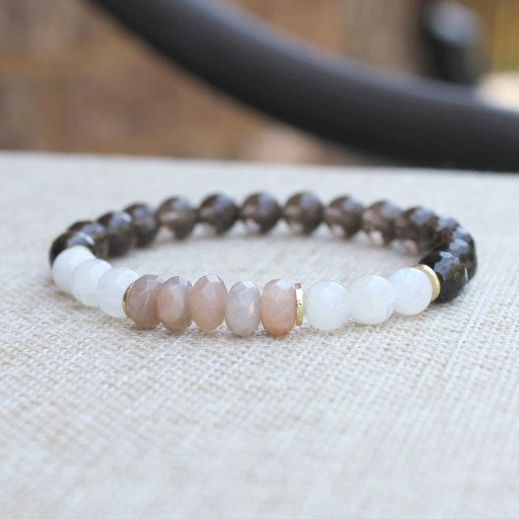 Mala Beads Yoga Bracelet Healing Crystal, Smoky Quartz, Moonstone, Sunstone - Happiness, Luck