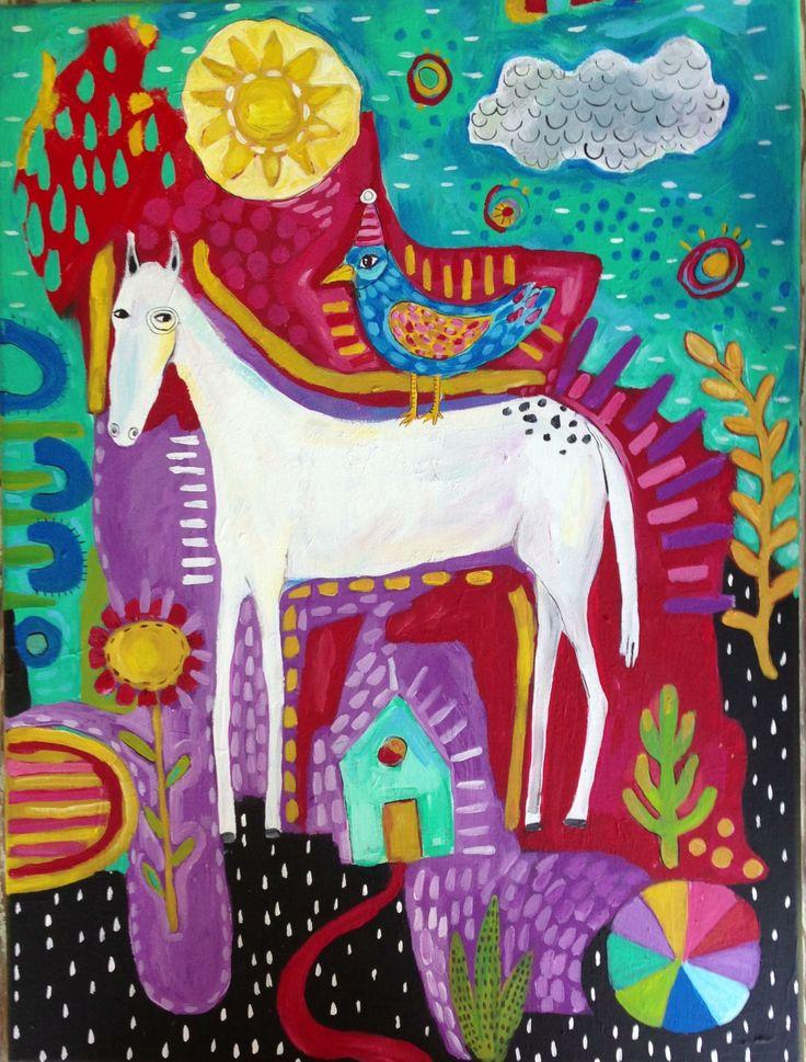 Whimsical Folk Art Horse - pinned by pin4etsy.com