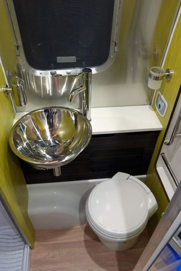Great use of space the sink is practically floating airstream bathrooms pinterest the for Travel trailer bathroom sinks