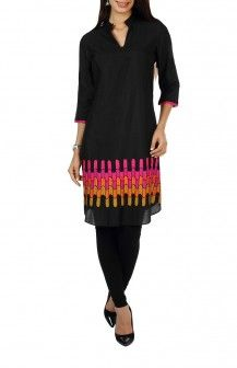 Black Chanderi Tunic By Poonam Bhagat Rs 17400
