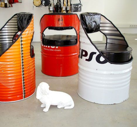 Chairs made ​​from recycled oil drum