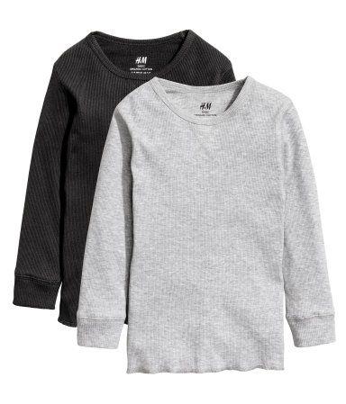 2 camisetas en punto de canalé | Gris jaspeado | Niños | H&M CO