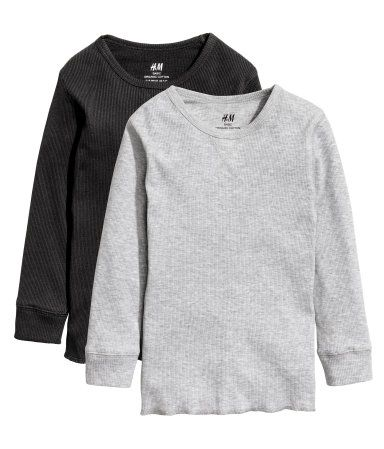 2 camisetas en punto de canalé   Gris jaspeado   Niños   H&M CO