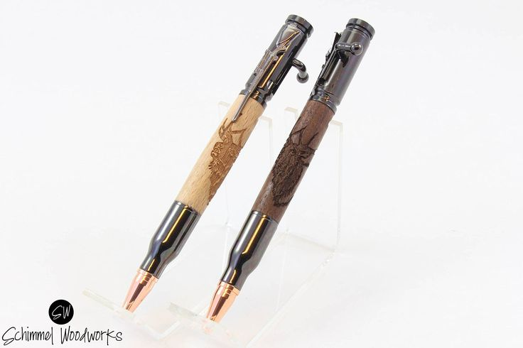 Handmade Schimmel Pen, Bolt Action Bullet Pen. Wood with Elk engraving, gun metal body. Great for the hunter in your family! In gift box. This is an awesome handmade Bolt Action Bullet Pen. It features a handmade body made with your choice of rich dark Walnut or light Beach wood with Elk engraving. The awesome copper bullet tip and rifle detail make this a one of a kind pen! Great for the hunter in your family or any hunting enthusiasts. Comes in a gift box. Uses a Parker Style refill…