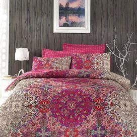 Add a touch of exotic elegance to your home with this colourful 100% cotton satin bedding set. Team with carved wood furniture and neutral decor to create an opulent bedroom scheme.   Product: Double duvet cover and 2 pillowcasesConstruction Material: 100% CottonColour: Fuchsia, grey, red, white and turquoiseDimensions: Duvet Cover: 200 cm x 220 cmPillowcase: 50 cm x 70 cm Cleaning and Care: Machine washable at 40 °C
