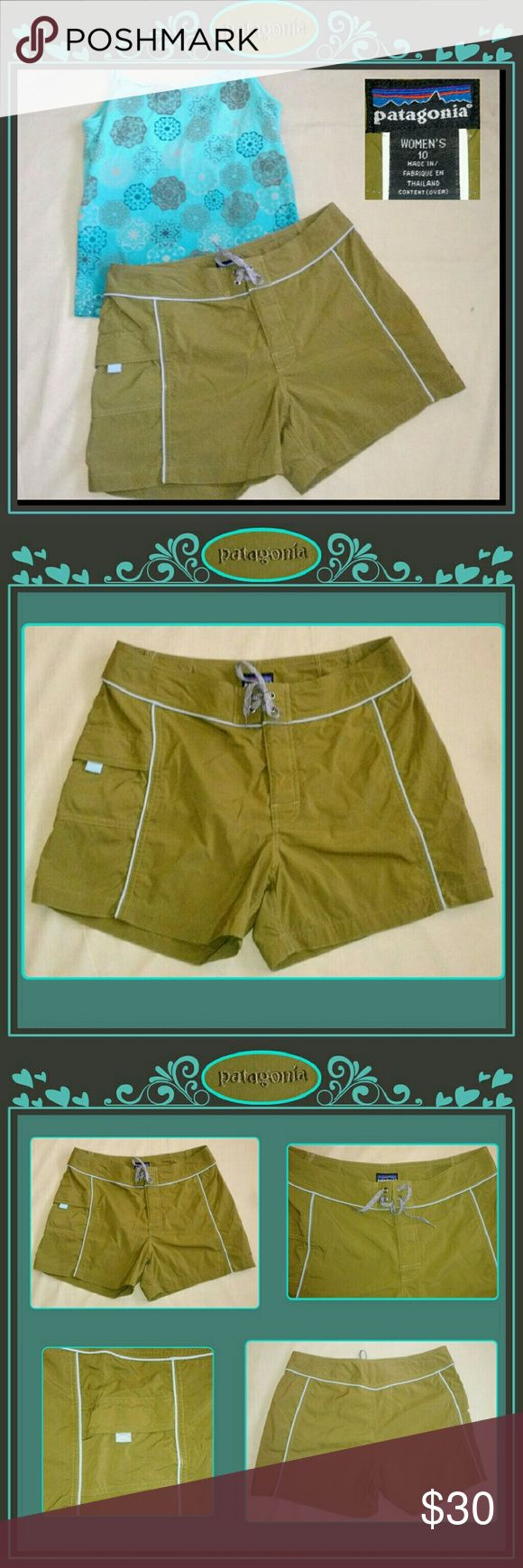 """??Sz10 women's Patagonia 4"""" board shorts ?? Women's size 10 board/ swim shorts. These army green water shorts have contrast pale blue piping detail, a Velcro/tie waistband closure, & a single side cargo pockets with Velcro closure. New, never worn. Approx measurements: waist 15"""" flat, rise 10"""", & inseam 4"""" Patagonia Shorts"""