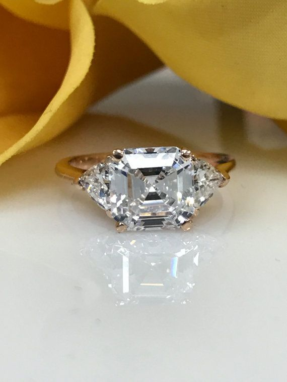 3.50 CTW Asscher Cut Engagement/Wedding/Anniversary/Promise With Trillion Accents Ring Solid 14kt Rose Gold Item #4742