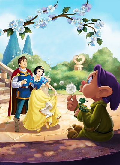 Snow White and Prince Ferdinand with Dopey disney