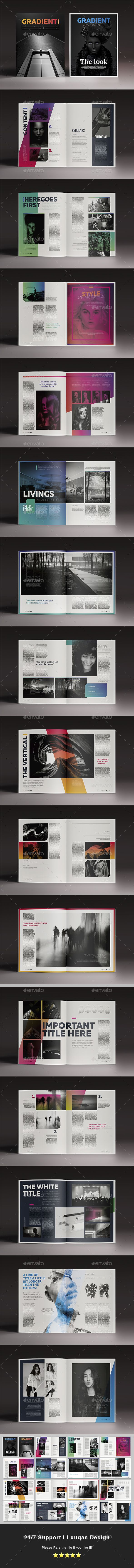 Gradient Magazine 32 Pages Letter Size and A4 Size Template InDesign INDD