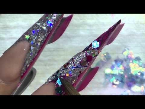 Uñas Acrilicas / Stiletto Nails / Uñas con piedras - YouTube