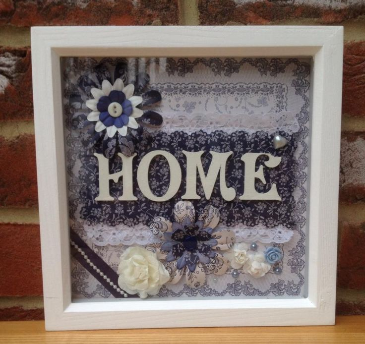 "Home picture in Parisienne Blues. Can be made in any colour.  Frame size 8x8"". Made to order. £18 + £5 p&p"