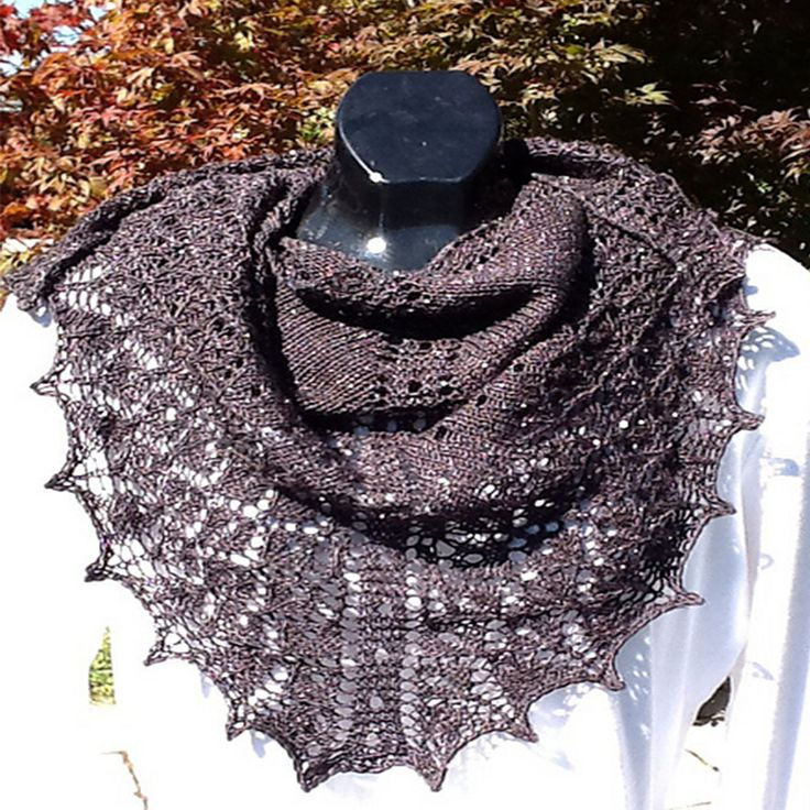 """Four Hundred is a classically designed top-down triangular shawl. A fantastic shawl done with 400 Yds of Buffalo Wool Tracks Yarn (sample shown in Marsala color) It starts from a small """"tab"""" at the ba"""