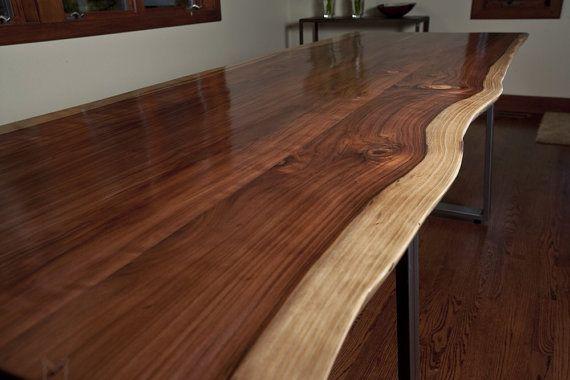 live edge dining room table. live edge black walnut dining table