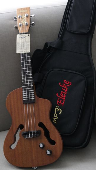Ukulele Jazz model | ... Tenor Mahogany ukulele by EleUke - Jazz Cutaway - model TCJ100-MHP3
