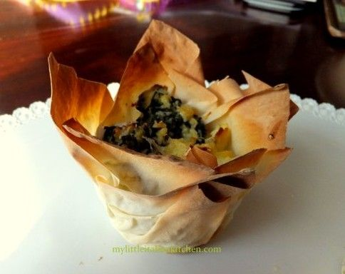 Filo pastry ricotta and spinach appetizer