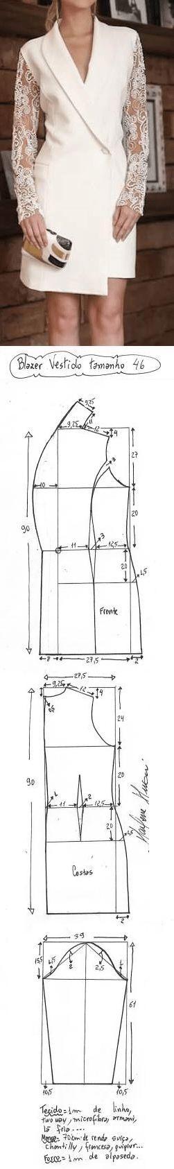 DIY – molde, corte e costura – Marlene Mukai. Blazer vestido manga de renda. Uma variação de blazer muito elegante. Fiz esquema de modelagem do 36 ao 56.